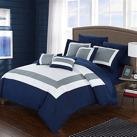 dylan comforter set buy chic home dylan 10 piece queen comforter set in navy