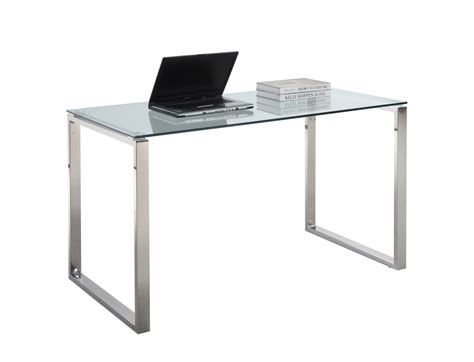 Stainless Steel Computer Desk Chintaly 6931 Stainless Steel Large Computer Desk