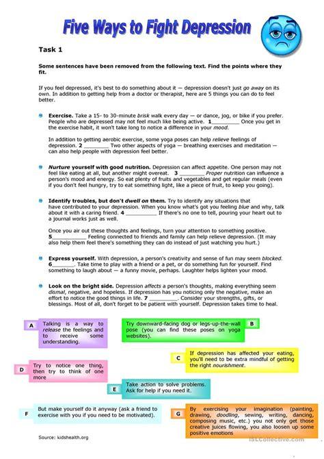 Depression Worksheets by Five Ways To Fight Depression Worksheet Free Esl