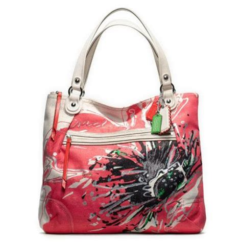 couch poppy coach poppy placed flower glam tote bag purse 19029 light