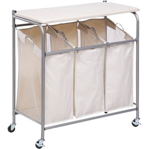 laundry sorter maidmax heavy duty 3 bag laundry sorter rolling laundry sorter cart with 4 wheels walmart