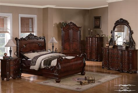 Furniture Bedroom Set Sale Regal Traditional 5 Pc Cherry Sleigh Bedroom Set Bed Dresser Mirror And Two