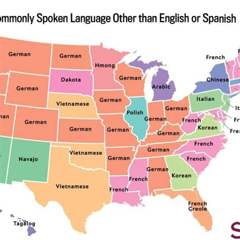 usa second language map the most common language spoken in your state besides