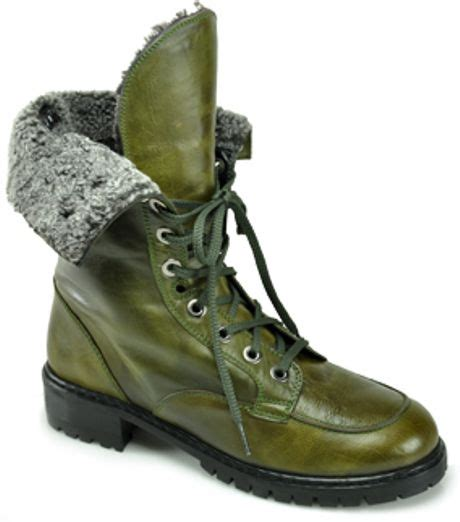 stuart weitzman workman olive leather combat boot in