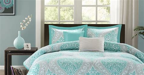 beautiful modern chic blue aqua teal grey tropical beach comforter set pillows tropical
