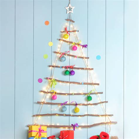 wooden hanging christmas tree with star by