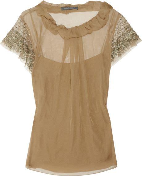 Silk Chiffon Top by Alberta Ferretti Embellished Silk Chiffon Top In Beige