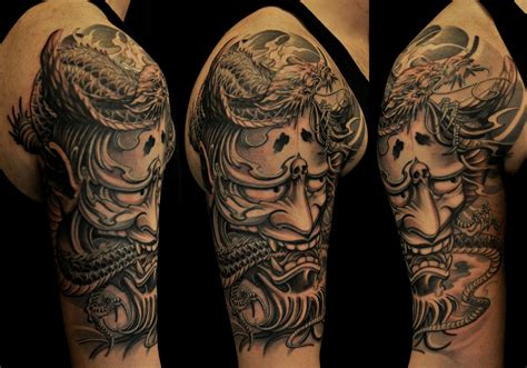 half sleeve hannya mask and dragon tattoo chronic ink