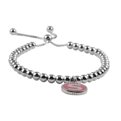 pink initial charm sterling silver bead slider bracelet
