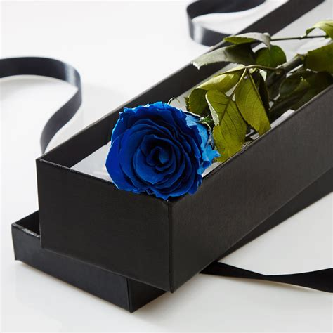single blue in a silk lined gift box petals roses