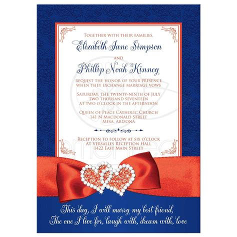 wedding invitation photo optional royal blue white