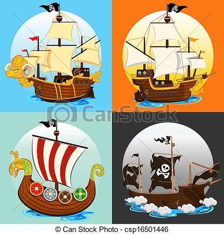 long boats cartoon vecteur eps de bateau ensemble pirate collection une