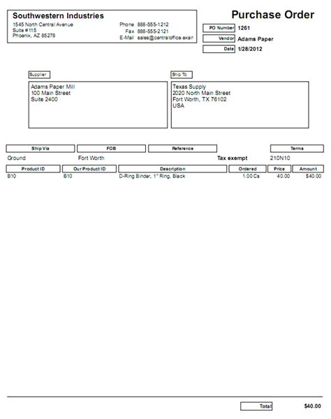 standard purchase order form cover business offer letter format