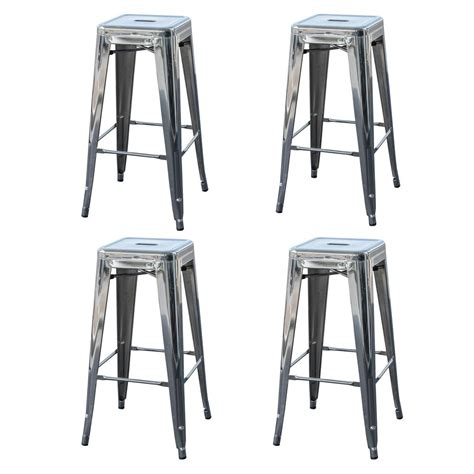 silver metal bar amerihome loft style 24 in stackable metal bar stool in