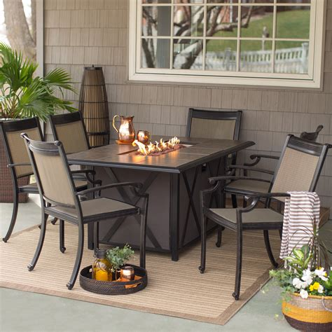 patio furniture pit table set st augustine pit set pit table set elisabeth propane 5pc
