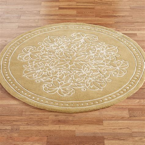 Golden Lace Round Area Rug Accent Rug