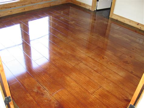Stained concrete and scored concrete.