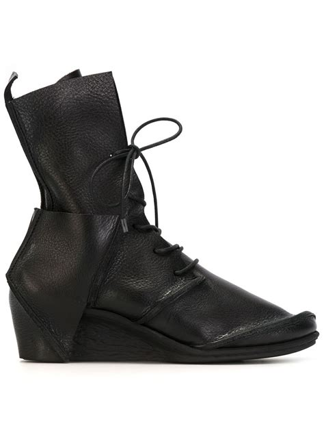 Lace Up Wedge Boots trippen lace up wedge boots in black lyst