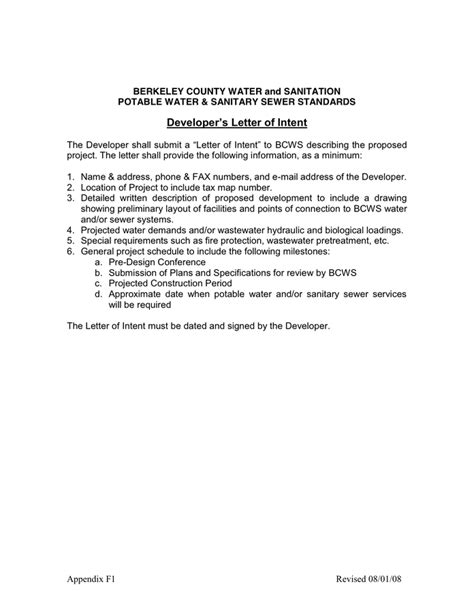 Letter For Water Business Developer S Letter Of Intent In Word And Pdf Formats