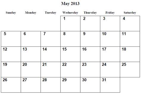 Calendar May 2013 6 Best Images Of May Calendar 2013 Printable 2013