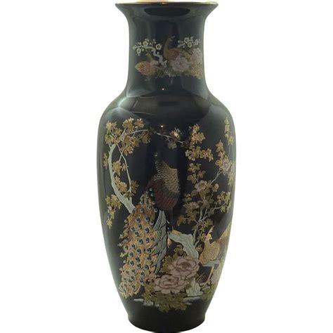 Japanese Peacock Vase by Beautiful Peacock Black Heisei Vase From Rubylane
