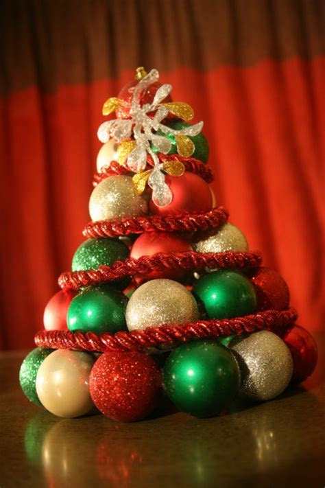 build a sparkly ornament tabletop tree dollar store crafts