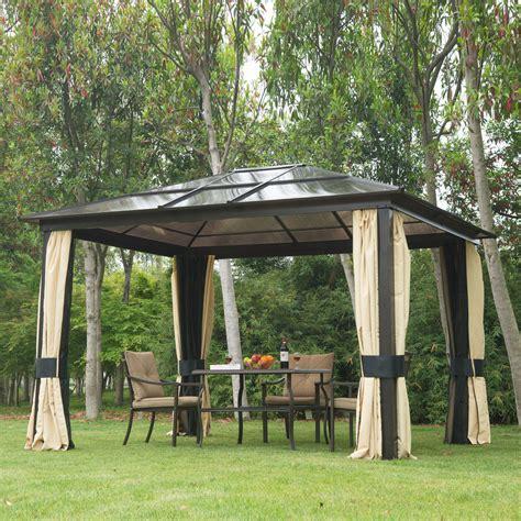 hardtop gazebo outdoor patio canopy  mesh