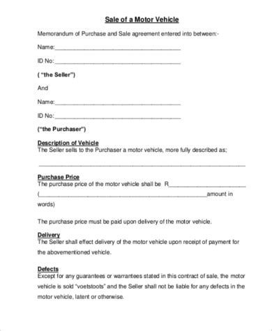 Vehicle Purchase Agreement 8 Free Documents In Word Pdf Automobile Purchase Agreement Template
