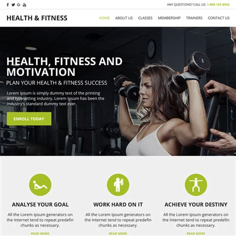 Fitness Website Design Templates