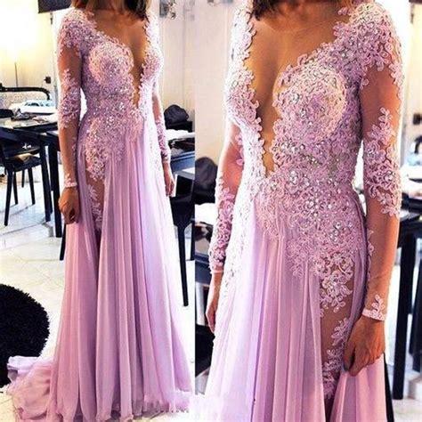 Lavender Prom Dress, Long Sleeve Prom Dress, Lace Prom Dress, Cheap Formal Dress, Purple Prom