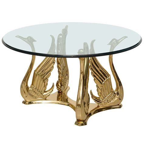 vintage polished brass swan coffee table at 1stdibs