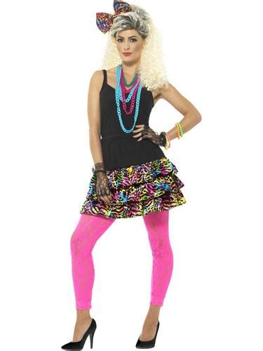 clothing shoes accessories costumes womens costumes 80s party girl ladies fancy dress 1980 s neon retro dancer