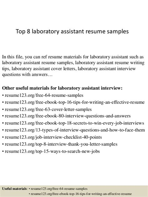 Resume Objective Laboratory Assistant Top 8 Laboratory Assistant Resume Sles