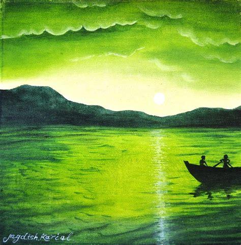 Painting Green 9 G shades of green painting by jagdish karial