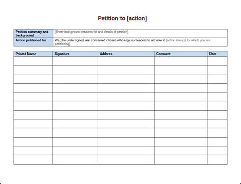 pdf form templates free petition template 23 free documents in pdf word