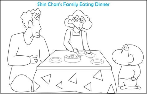 shin chan s family coloring page for kids