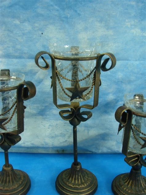 Tiered Glass Candle Holders Set 3 Tiered Metal Candle Stands Crackle Glass Votive