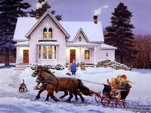 Coming home for christmas painting sledge hd wallpaper