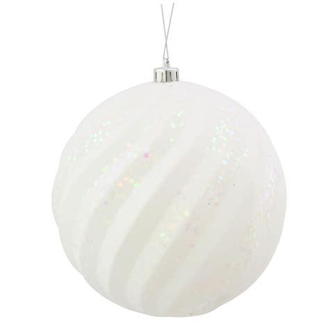White Balls Ornaments - 6 inch matte glitter swirl ornament white