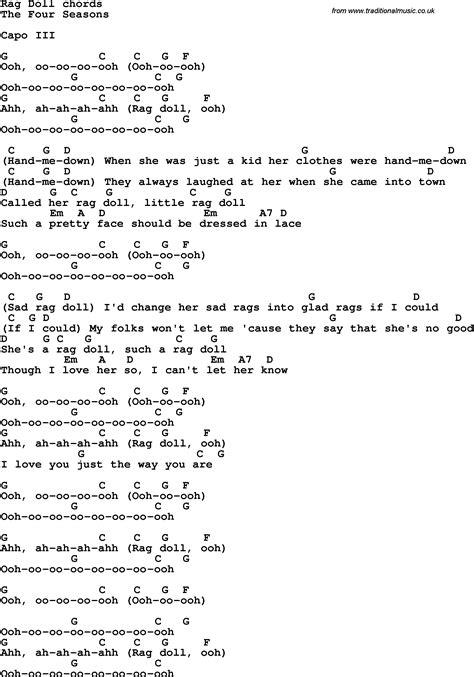 rag doll chords song lyrics with guitar chords for rag doll