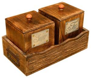 Rustic Kitchen Canisters Sugar And Tea Wooden Canister And Tray Set Rustic