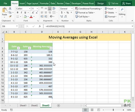 moving average excel template calculate moving average in excel pakaccountants