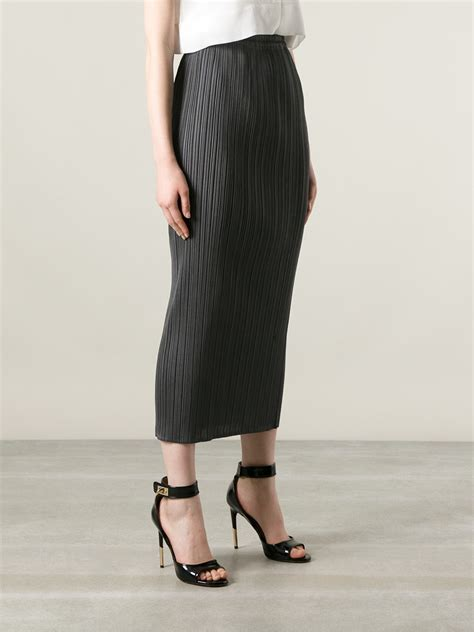pleats issey miyake pleated skirt in gray lyst