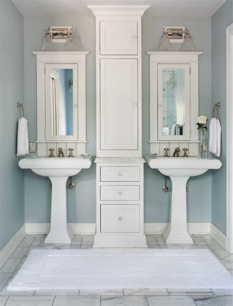 bathroom with double sink double pedestal sink bathroom transitional with double