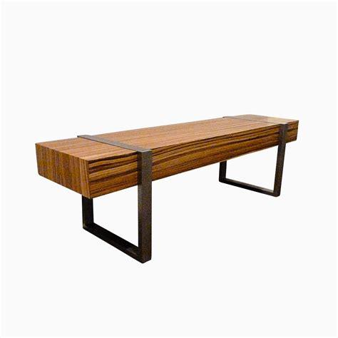 hand  welded modern interior zebra wood bench seat