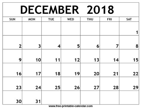 printable calendar for december 2018 december 2018 printable calendar