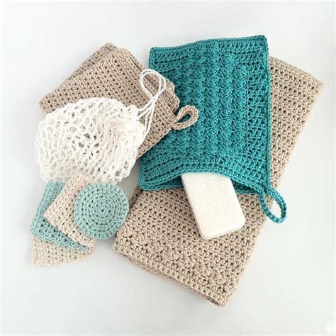Crochet Set crochet bathroom set washcloth guest towel wash mitt