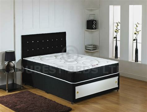 cheap double beds black 4ft6 double memory foam divan bed quilted new next