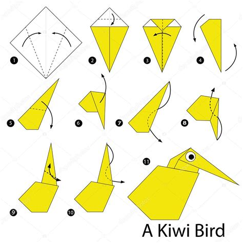 Steps To Make A Paper Bird - step by step how to make origami a kiwi bird