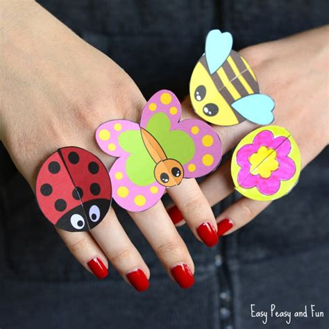 printable bug paper rings for kids craft template easy